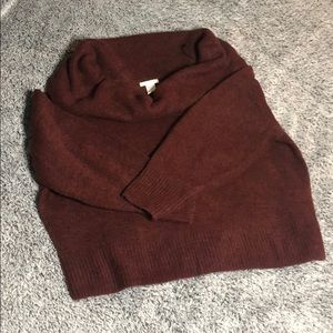 H&M burgundy off shoulder sweater